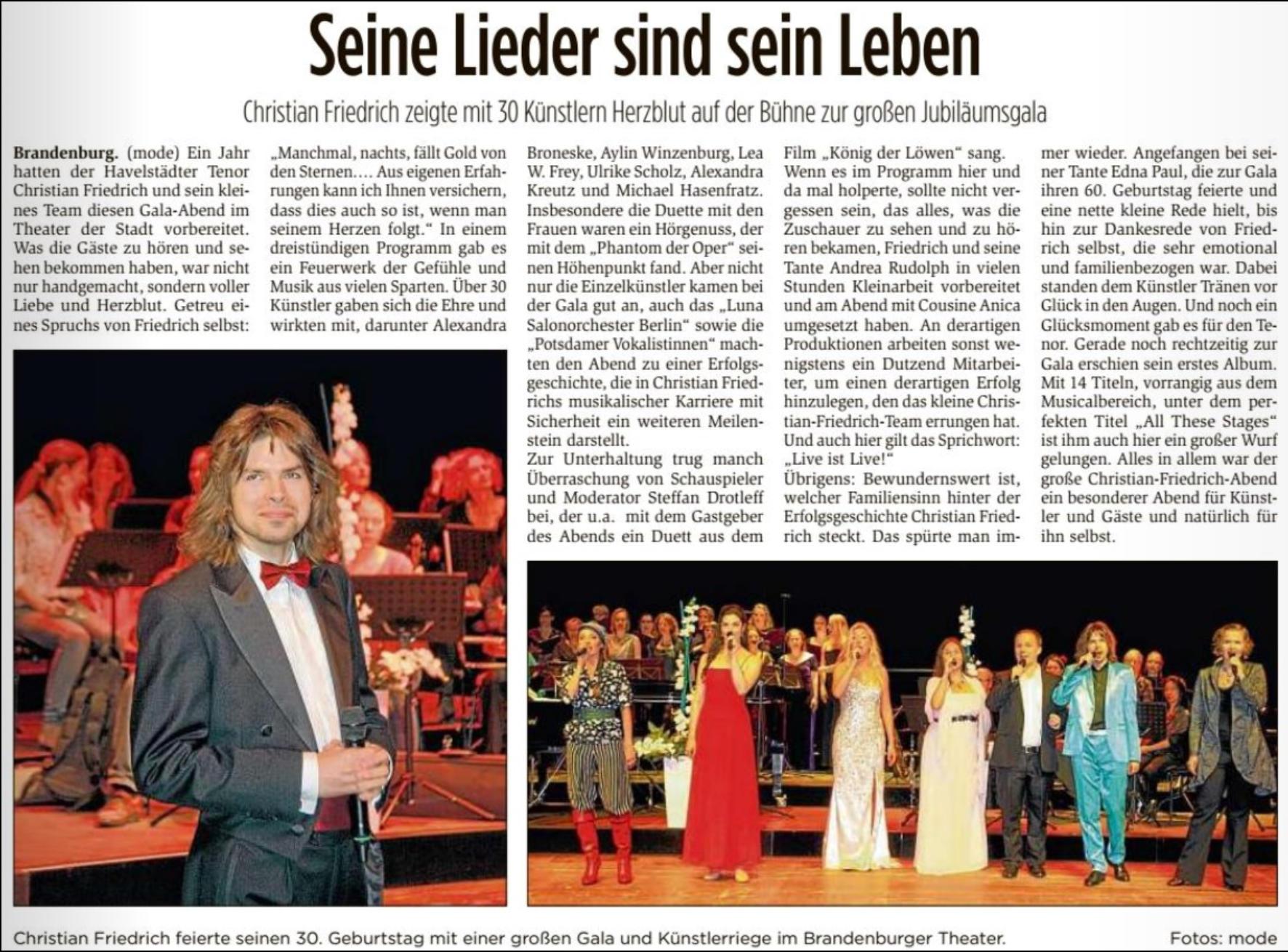 Christian Friedrich Tenor offizielle Seite